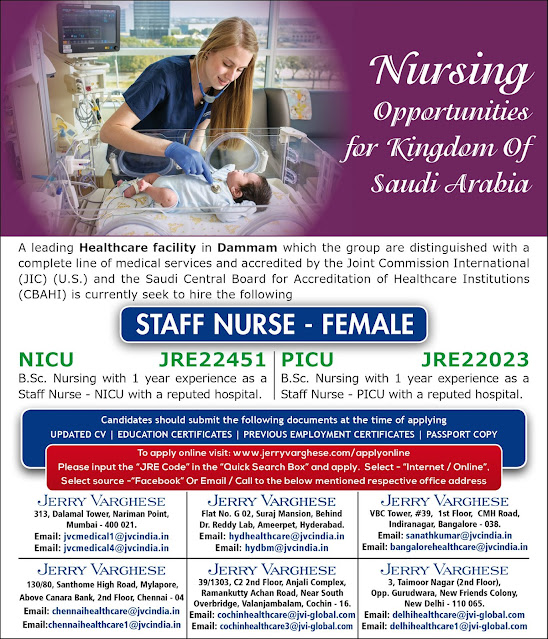 Female Staff Nurse B.Sc GNM Job Vacancies - Saudi Arabia