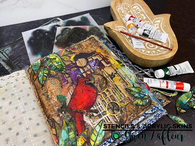 Stencils & Acrylic Skins - Art Journal Tutorial by Gwen Lafleur