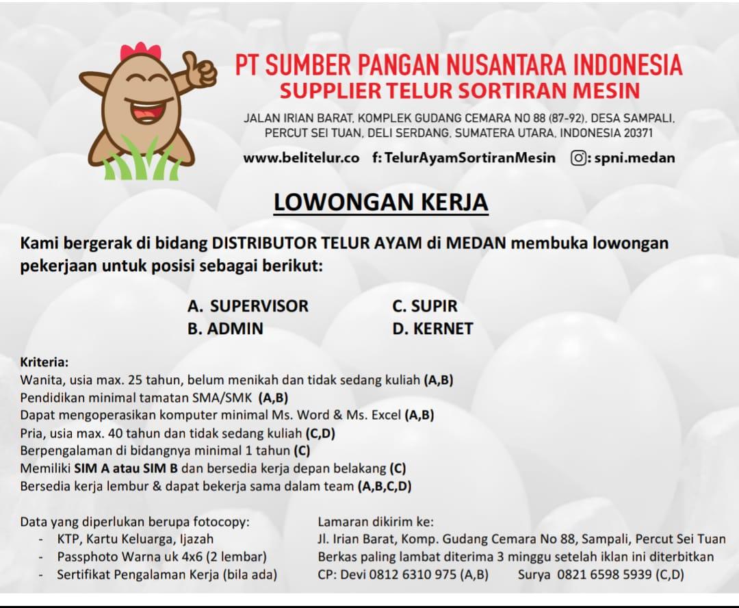 Lowongan Kerja Medan Terbaru Di Pt Sumber Pangan Nusantara Indonesia Poskerjamedan Com