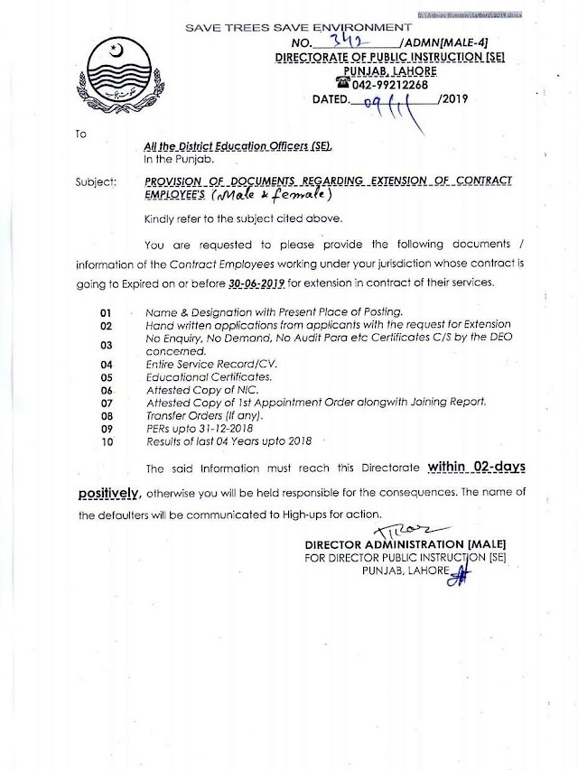 PROVISION OF DOCUMENTS REGARDING EXTENSION OF CONTRACT EMPLOYEES
