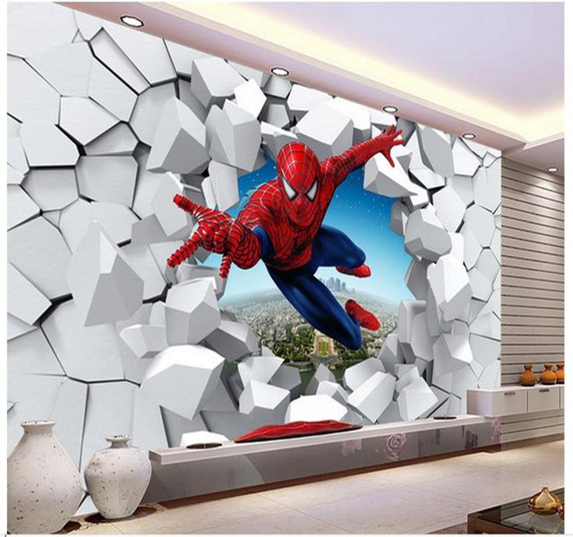 spiderman wall mural 3d marvel wallpaper mural children kids photo spiderman  wallpaper
