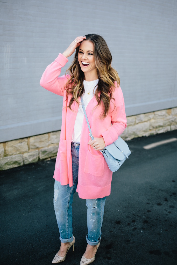 Bubblegum Pink Boyfriend Cardigan | KBStyled | Nashville Fashion Blog