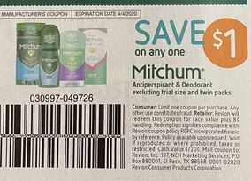 """$1.00/1 Mitchum Deodorant Coupon from """"Smart source"""" insert week of 3/8/20"""