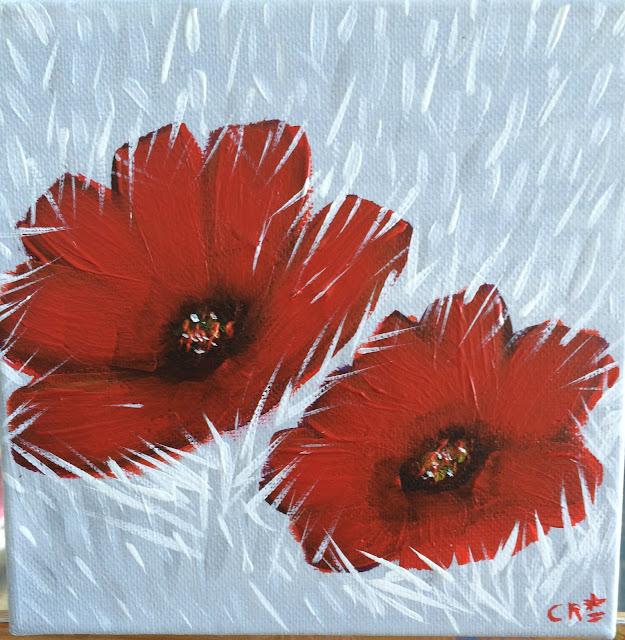 red flowers on white field, flores rojas en un campo blanco, pintura acrílica en canvas, flores rojas, acrylic painting on canvas