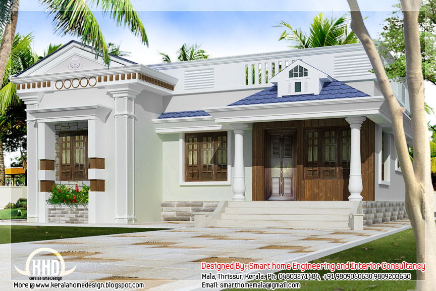 3 bedroom kerala style single story budget villa kerala for Small budget house plans in kerala