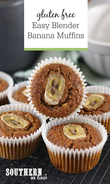 Easy Banana Blender Muffins Recipe - simple, easy, quick, no mixer, gluten free, light, fluffy, moist