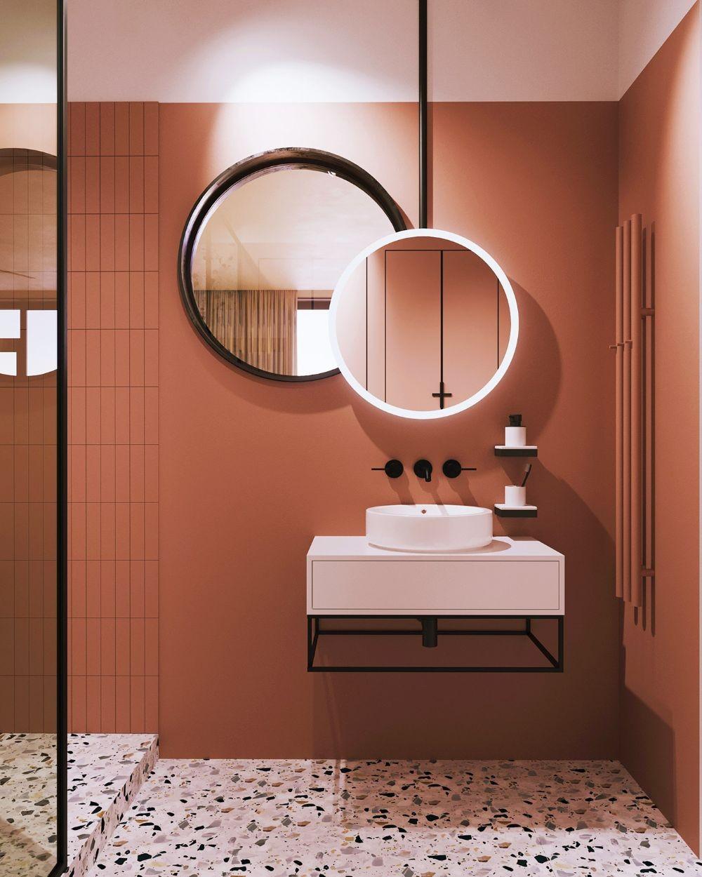 salle de bains terracotta et terrazzo
