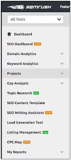 "click on ""projects"" in the left column of SEMrush"
