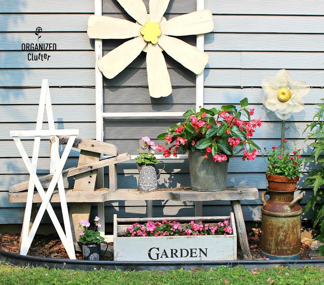 Shabby Chic/Boho Junk Garden Vignette #stencil #mandala #graniteware #junkgarden #containergarden #waxbegonia