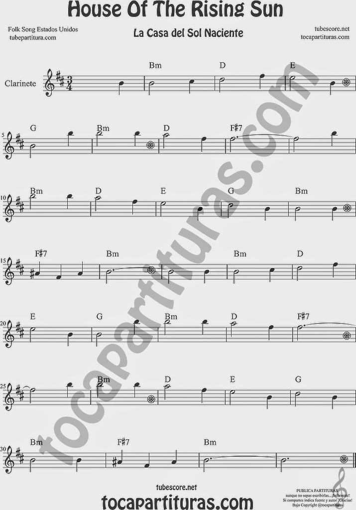 La Casa del Sol Naciente Partitura de Clarinete Sheet Music for Clarinet Music Score
