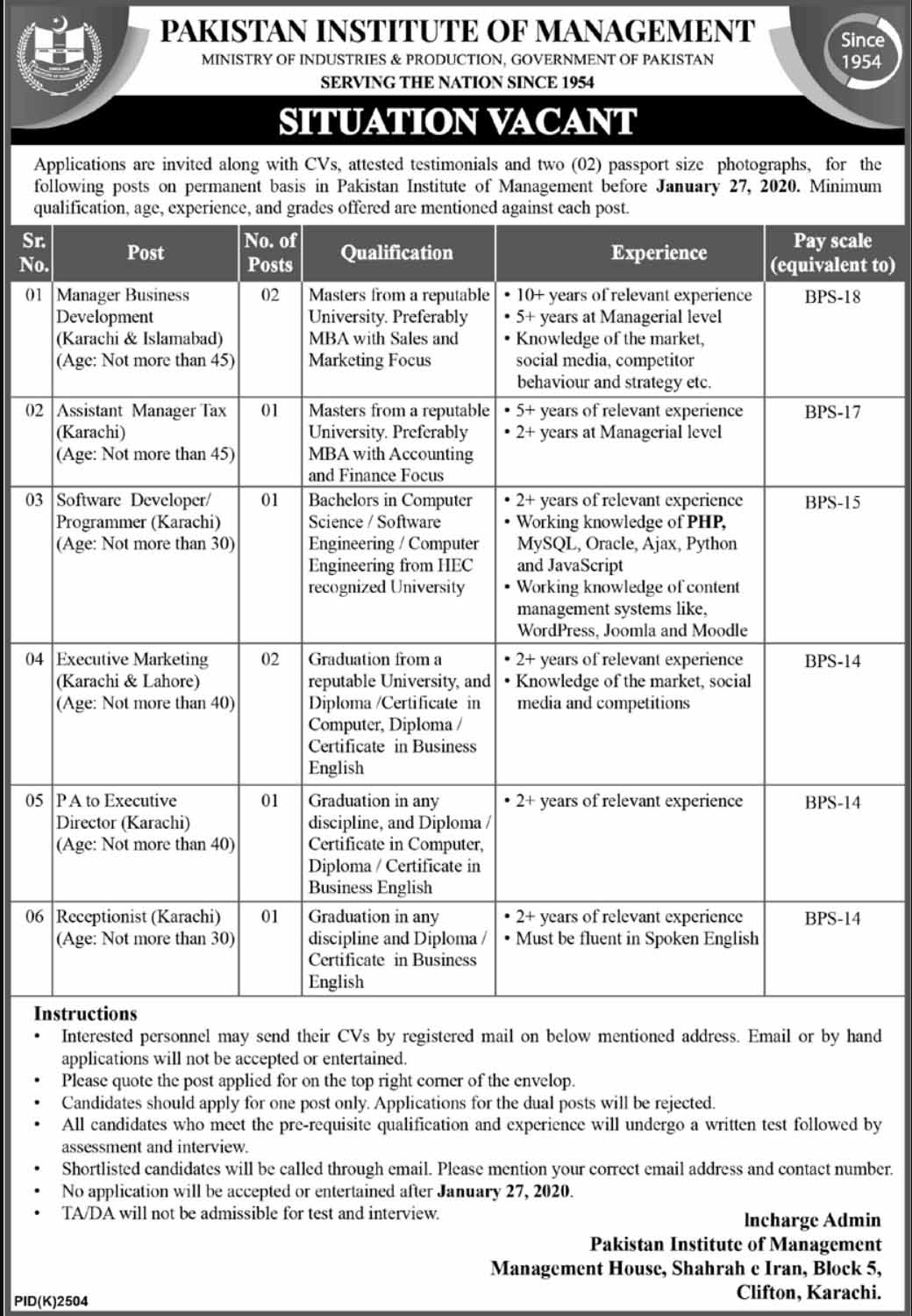 Ministry of Production Latest Jobs 2020
