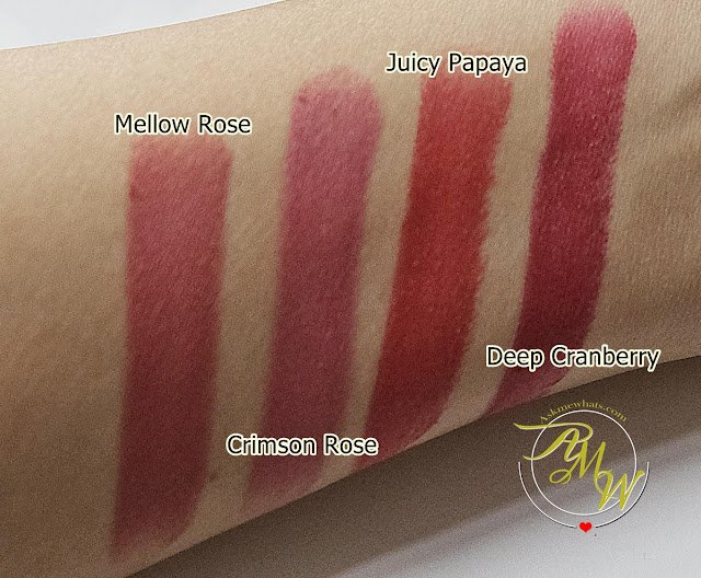 a swatch photo of CLIO Mad Matte Lipsticks  review in shades Crimson Rose, Mellow Rose, Juicy Papaya and Deep Cranberry