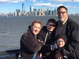 David brodosi and family on boat to visit Statue of Liberty