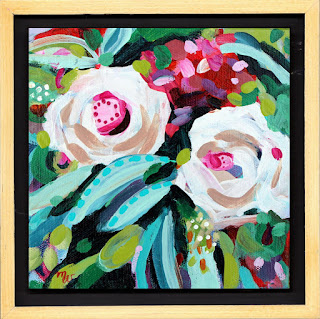 Flower painting by artist Merrill Weber framed original acrylic on canvas 6 x 6 Celebration 100 framed
