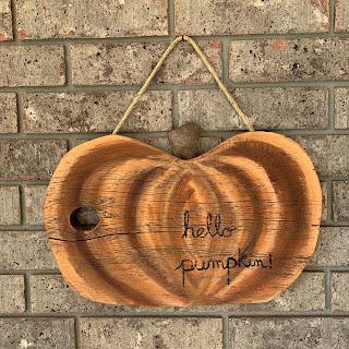 "Reclaimed wood ""Hello Pumpkin"" sign"