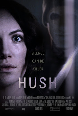 Hush, Movie, Filem, English Movie, Hush Movie, Filem Hush, English Movie Hush, Hush Movie 2016, Thriller, Sinopsis Filem Hush, Review, My Opinion, Ulasan Filem Hush, Suspen, Movie Review By Miss Mulan, Senarai Pelakon Filem Hush, Kate Siegel sebagai Maddie Young, John Gallagher Jr. as The Man, Michael Trucco sebagai John Stanley, Samantha Sloyan sebagai Sarah Greene dan Emilia Graves sebagai Max, Hush Movie Poster,