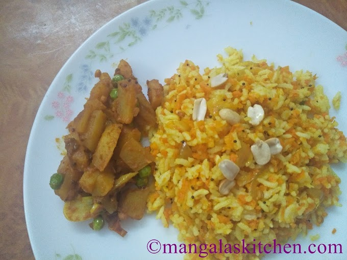 Carrot Peanut Rice | Carrot Verkadalai Sadam | Lunchbox Recipe