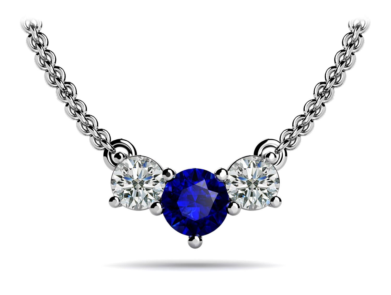 Gemstone Center Horizontal Diamond Pendant from Anjolee Jewelry