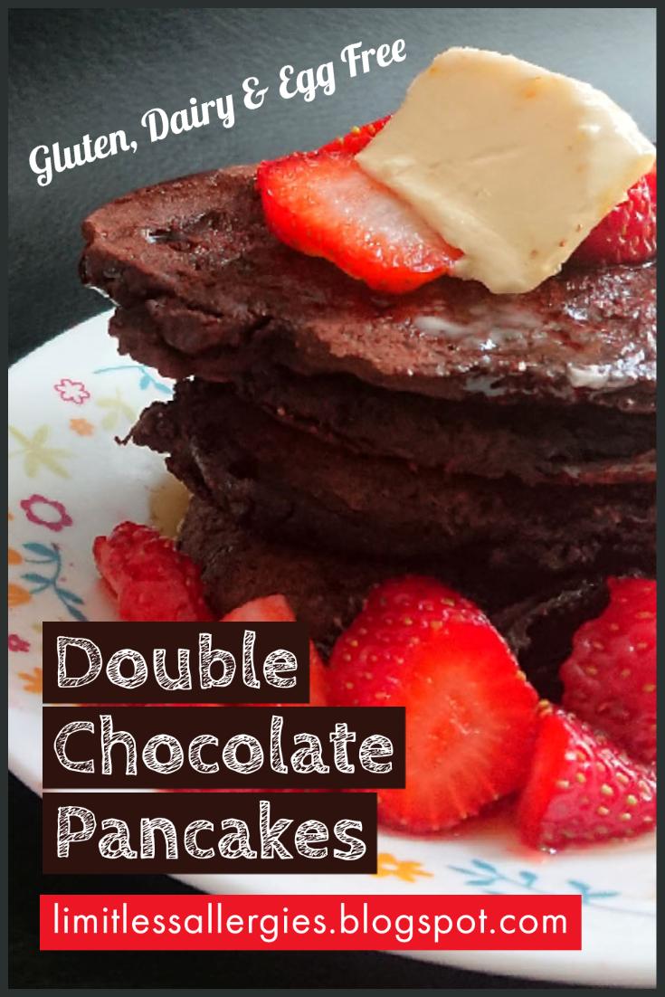 pinning image for double chocolate pancake recipe