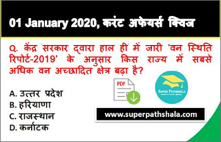 Daily Current Affairs Quiz in Hindi 01 January 2020