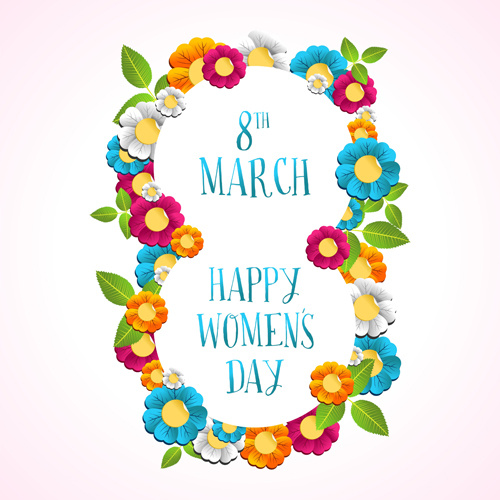 8 march womens day background set vector Free vector