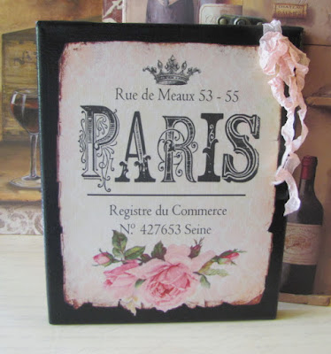 Vintage French Sign Pink Roses