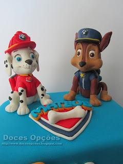 cães patrulha pata bragança  bolos doces opções