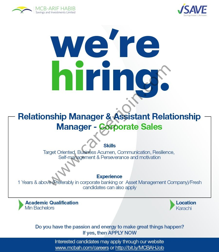 MCB Arif Habib Savings & Investments Limited Jobs Relationship / Assistant Relationship Manager Corporate Sales