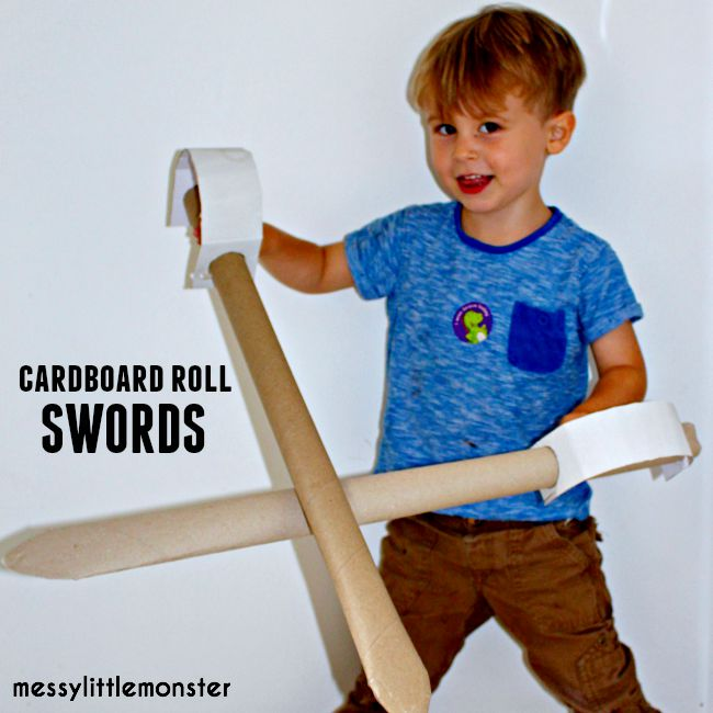 Cardboard roll sword craft for boys