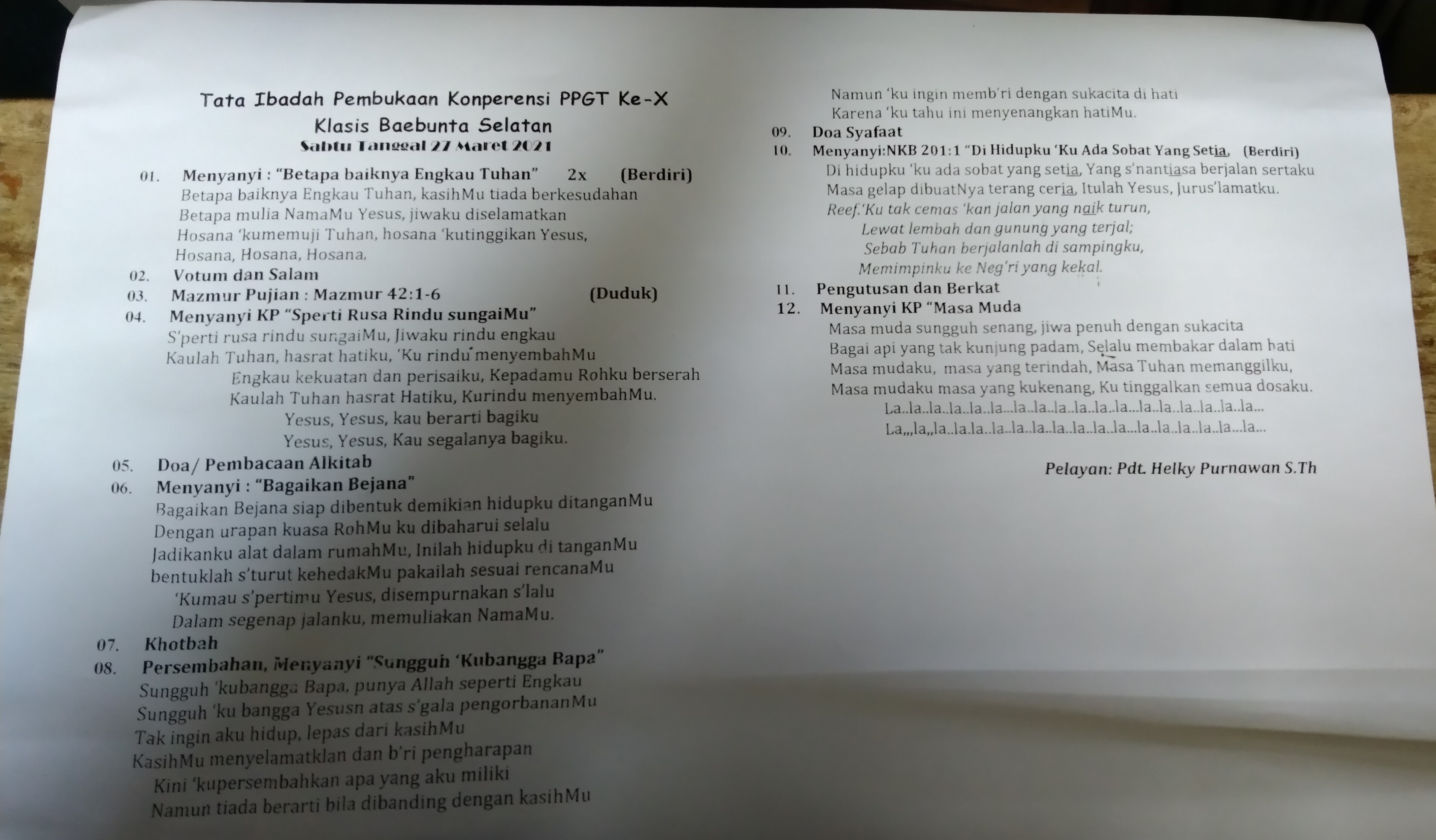 Contoh liturgi ibadah konperensi PPGT Klasis