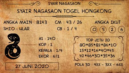 Prediksi Togel Hongkong Nagasaon HK Sabtu 27 Juni 2020