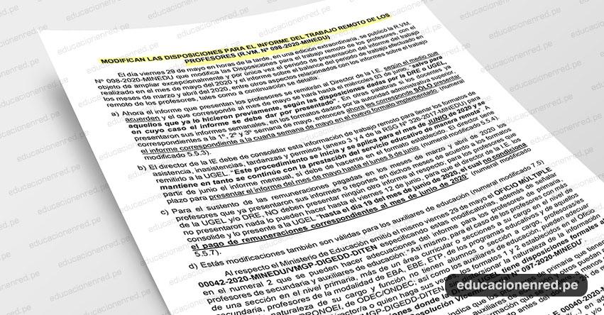 ANÁLISIS: Modifican las disposiciones para el informe del trabajo remoto de los profesores (Fernando Gamarra Morales)