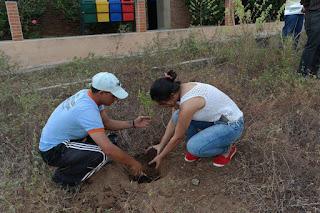 Calouros participam de arborização no campus de Cuité da UFCG