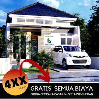 Jual rumah murah 400 Jutaan Gratis Semua Biaya Lokasi Dekat Kampus USU Padang Bulan Medan - Alexandria Cempaka Residence