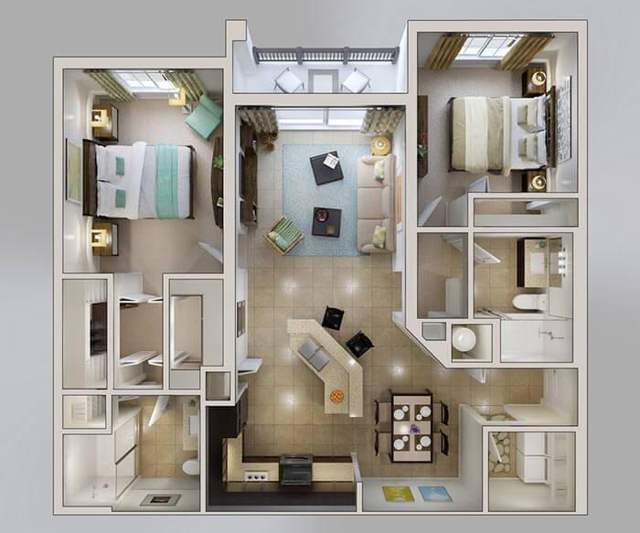 2+1 müstakil ev planı modelleri