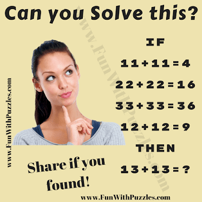 It is logical Maths Question for Kids in which you have to solve the logical equations and then find the missing number in last equation.