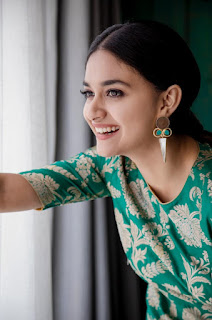 Keerthy Suresh in Green Dress with Cute and Awesome Smile for Latest Photo Shoot