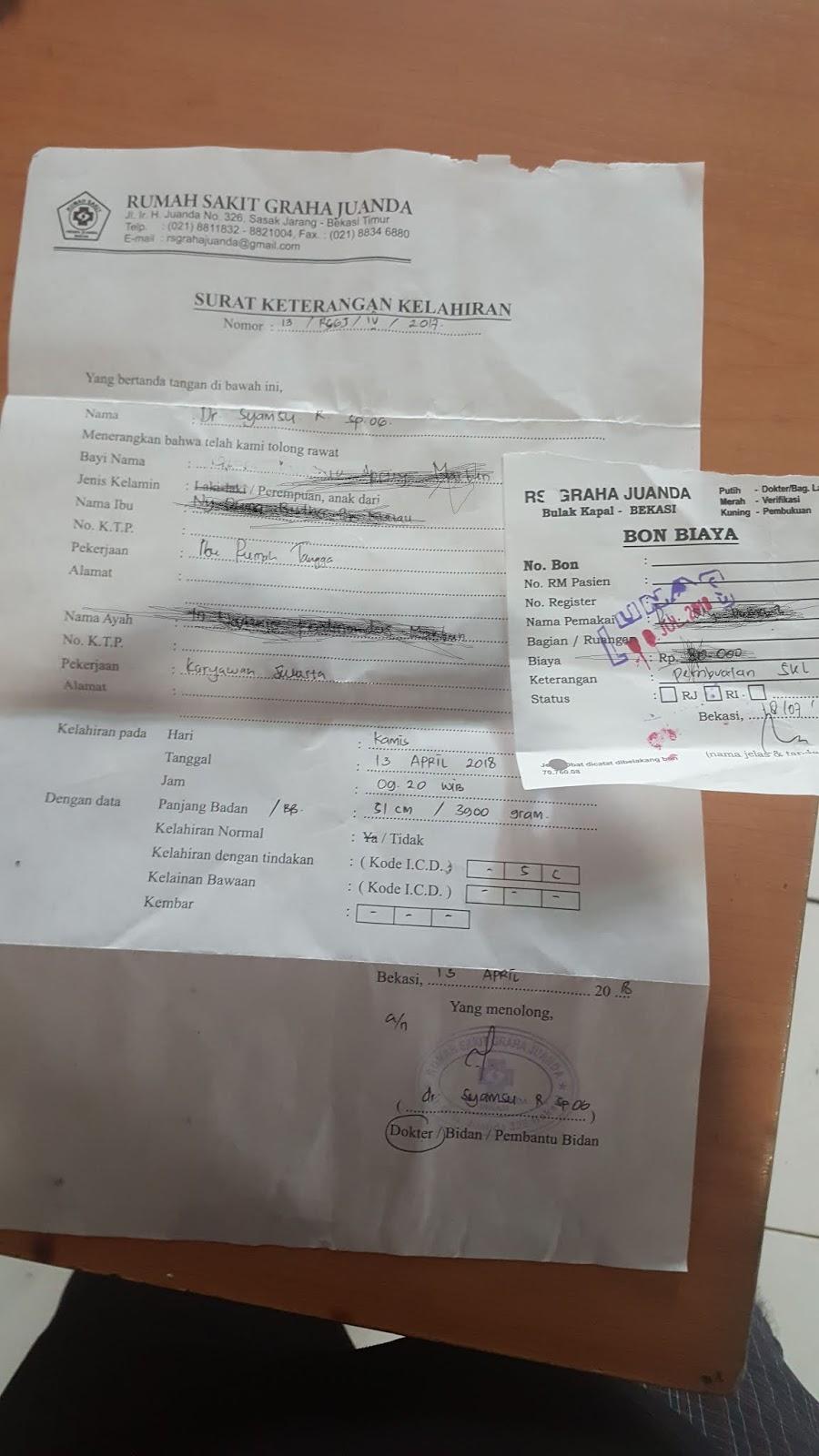Rumah Sakit Graha Juanda Menjual Selembar Kertas Keterangan
