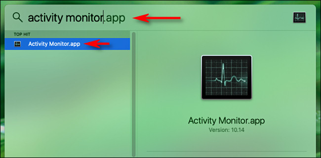 "افتح Spotlight Search على Mac واكتب ""Activity Monitor"" ثم اضغط على Return."