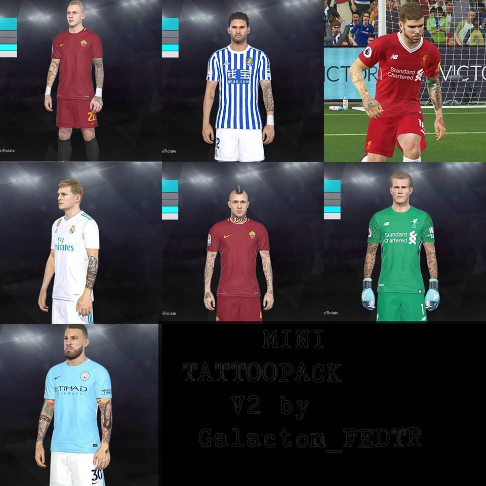PES 2018 Tattoo Pack v2 by Galacton FaceEditor
