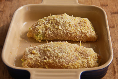 ready to bake for Baked Chicken Stuffed with Pesto and Cheese found on KalynsKitchen.com