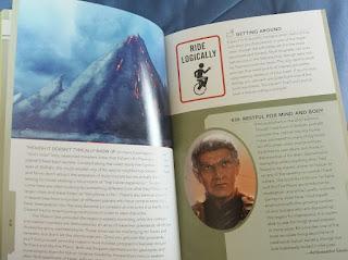 Das Bild zeigt einen Blick in das Buch, Zeichnungen zeigen einen Vulkan, ein vulkanisches Hinweisschild mit Einrad und Botschafter Sarek