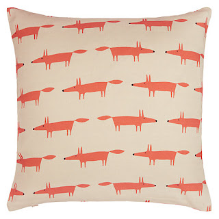 Scion Mini Mr Fox Cushion, Orange/Beige