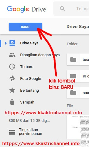 Klik tombol BARU pada akun google drive