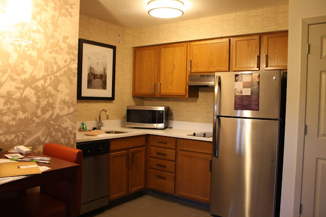 Kitchenette in the hotel room at  Residence Inn Minneapolis-St. Paul/Roseville is perfect for families