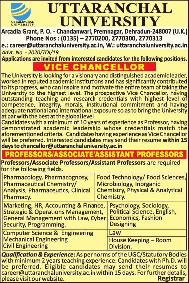 Uttaranchal University Microbiology Faculty Job Openings