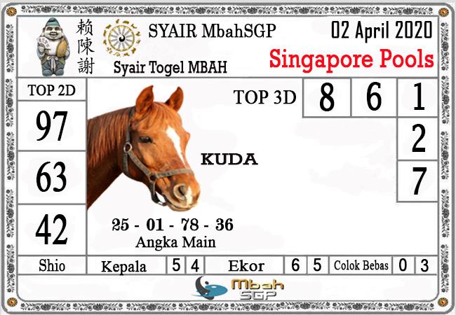 Bocoran Togel Singapura Kamis 02 April 2020 - Syair Mbah SGP