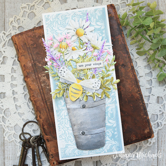Use Your Wings Slimline Card by Juliana Michaels featuring the Tim Holtz Sizzix Potted 2 Bigz Die and Mini Botanical 3D Texture Fade