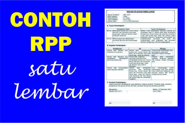 Kumpulan RPP Satu Lembar SD/MI Tahun 2021