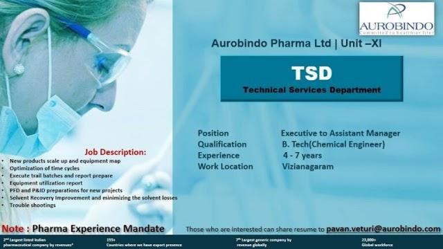 Aurobindo Pharma | Hiring Chemical engineering candidates in TSD at Vizag